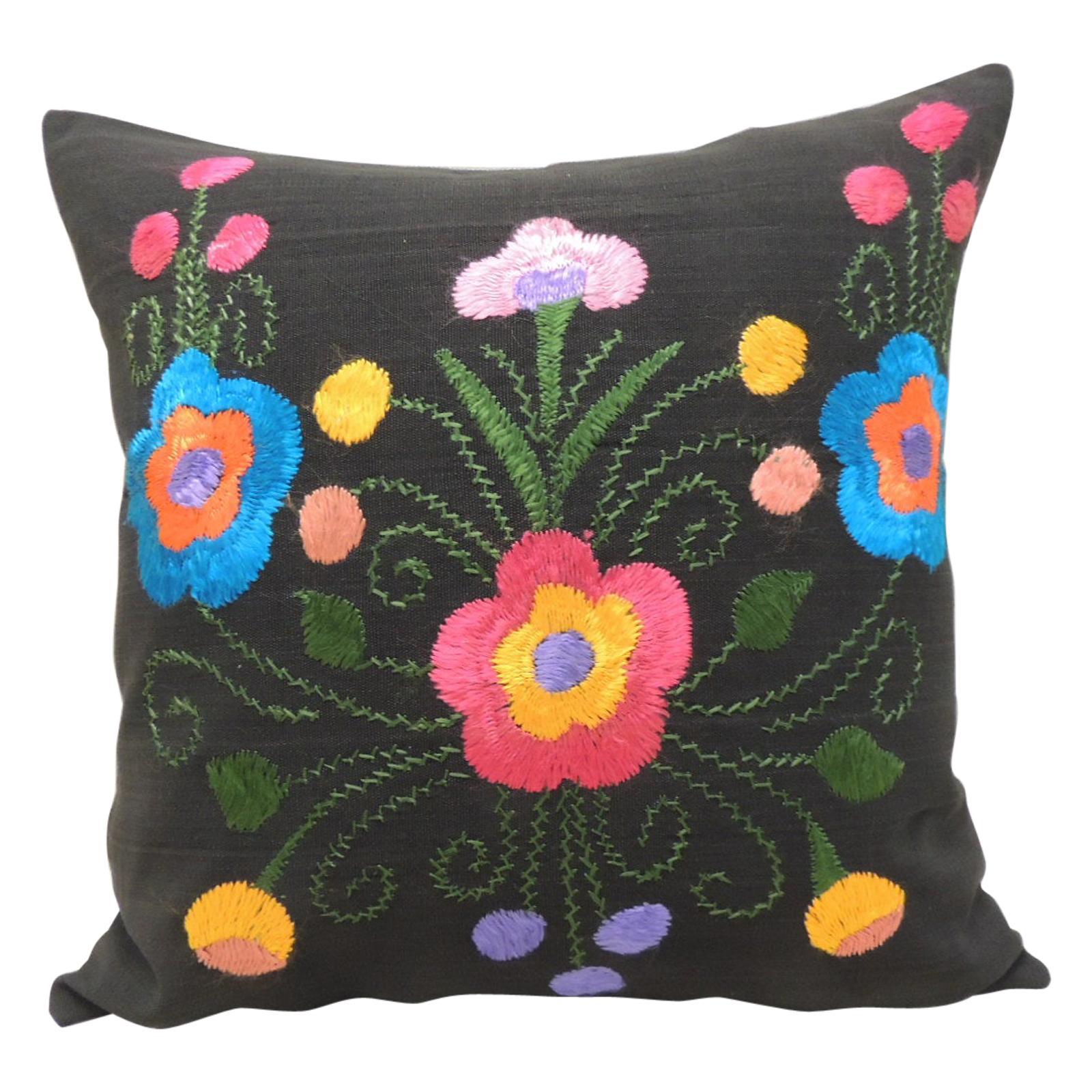 Blue and Orange Square Decorative Pillow