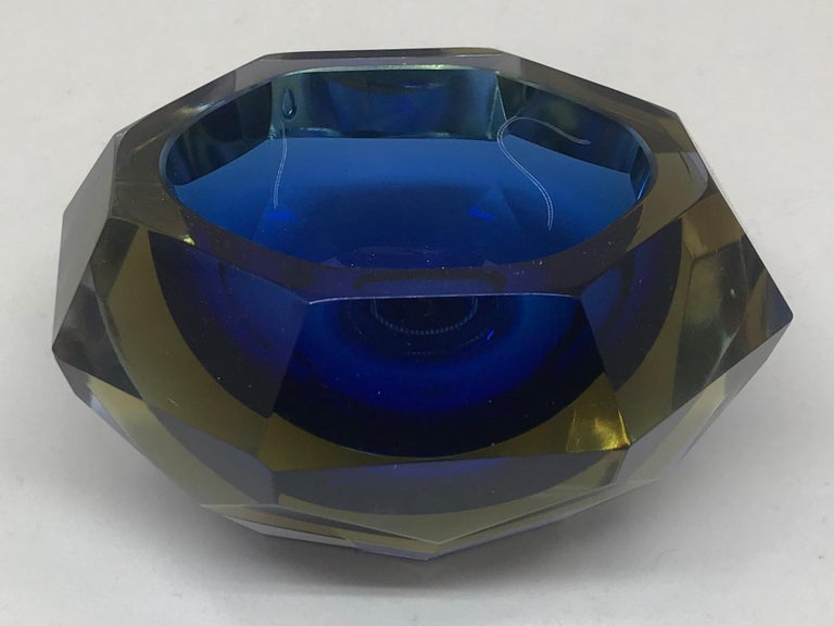 Mid-Century Modern Blue and Pale Amber Murano Vide Poche For Sale