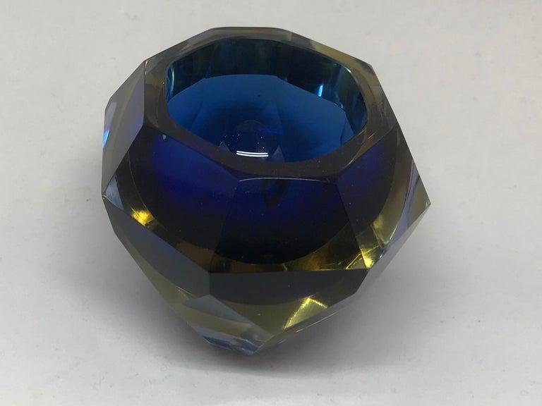 Italian Blue and Pale Amber Murano Vide Poche For Sale