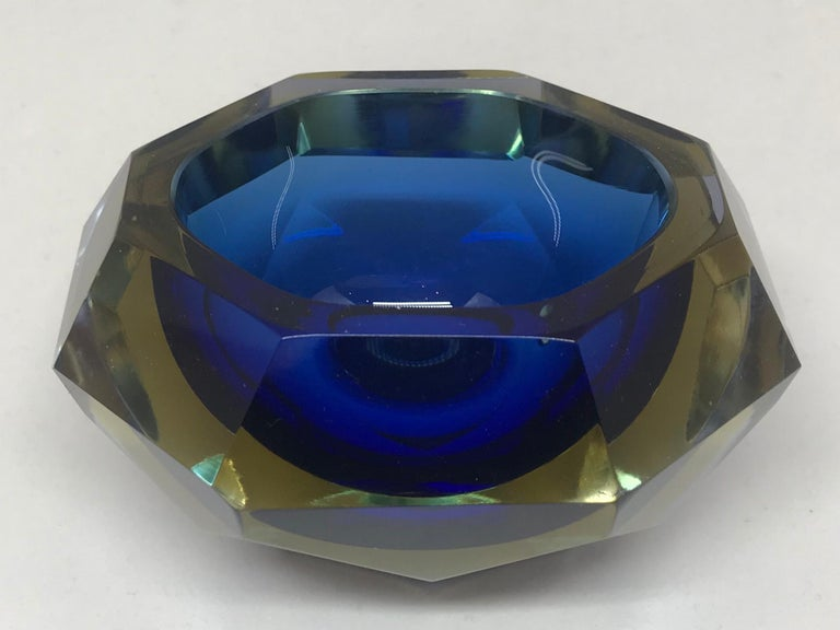 Blue and Pale Amber Murano Vide Poche In Good Condition For Sale In New York, NY