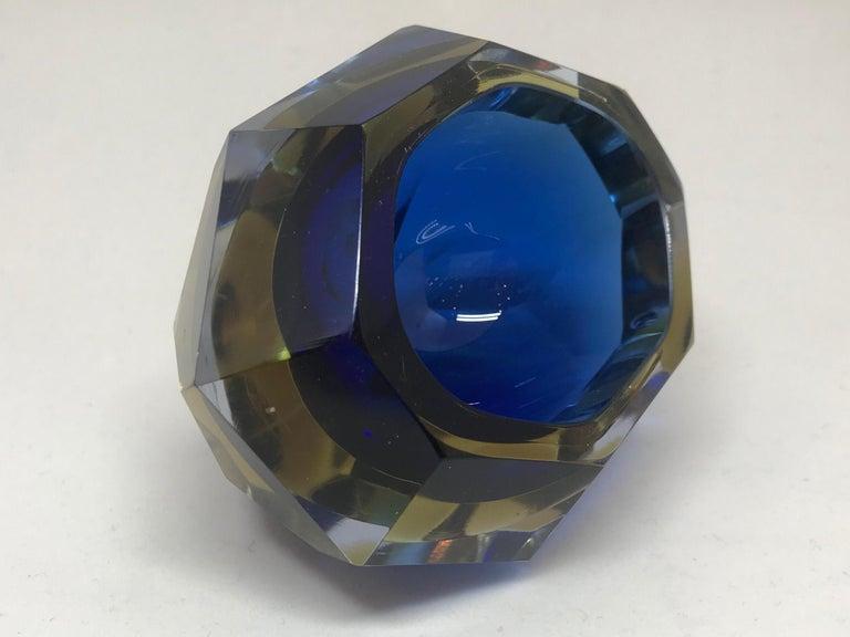 Glass Blue and Pale Amber Murano Vide Poche For Sale