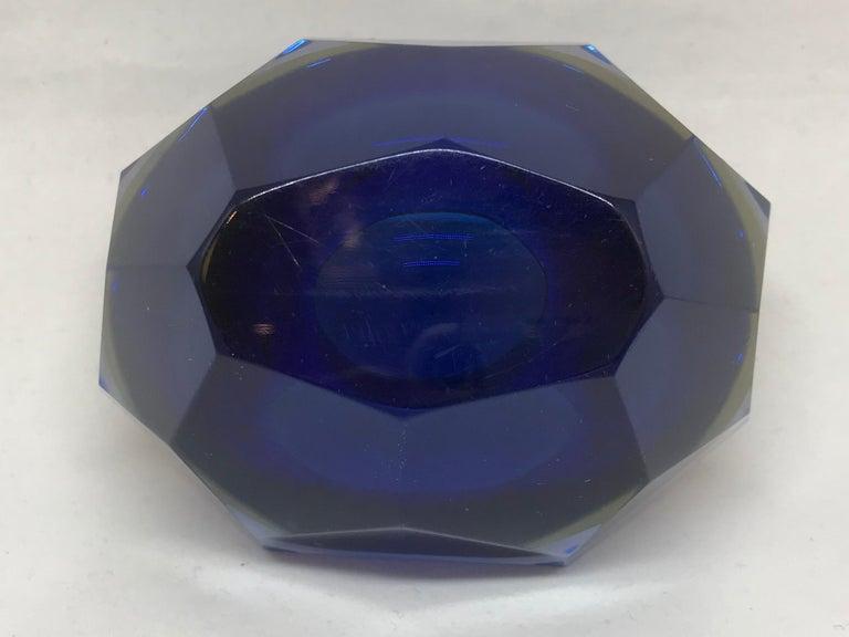 Blue and Pale Amber Murano Vide Poche For Sale 1