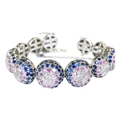 Blue and Pink Sapphire and White Diamond Bangle Bracelet in 18 Karat White Gold