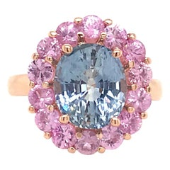 Blue and Pink Sapphire Cocktail Cluster Ring 6.63 Carat 14 Karat Yellow Gold