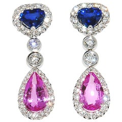 Blue and Pink Sapphire Drop Earrings with Diamond in 18 Karat White Gold