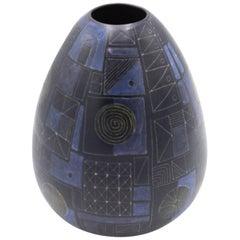 Blue and Purple Geometric Design Ceramic Vase