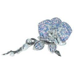 Blue and Purple Sapphires Diamonds 18 Karat White Gold Orchid Brooch