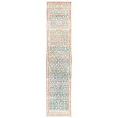 Blue and Red Antique Persian Malayer Runner with Small Floral Motifs