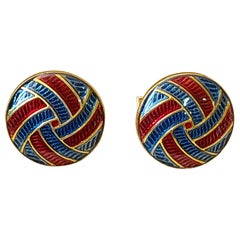 Blue and Red Enamel Cufflinks Set in 14 Karat Gold
