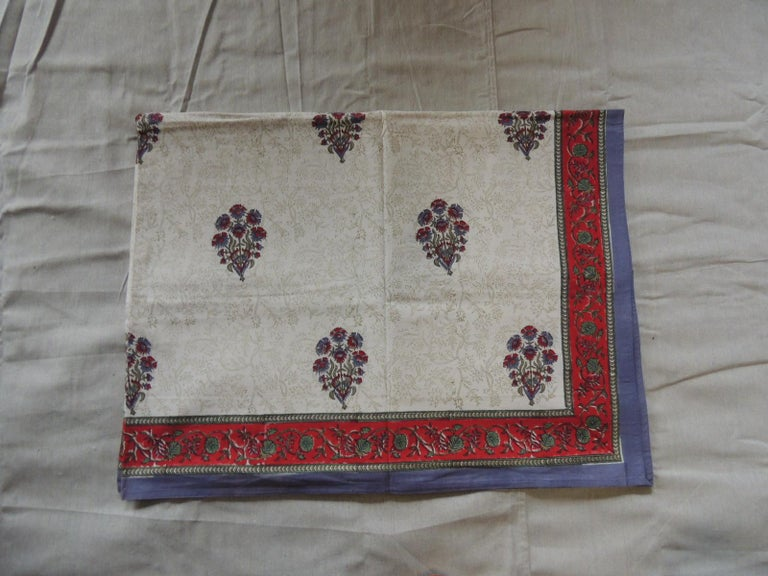 Blue and red hand-blocked Indian coverlet.