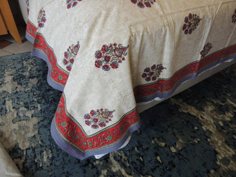 Moorish Blue and Red Hand-Blocked Indian Coverlet For Sale