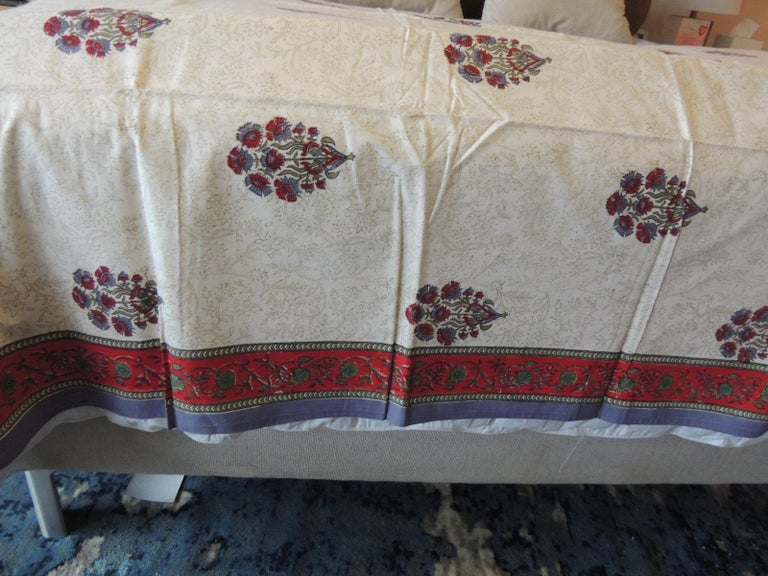 Hand-Crafted Blue and Red Hand-Blocked Indian Coverlet For Sale