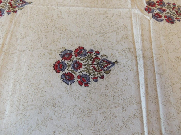 Blue and Red Hand-Blocked Indian Coverlet In Good Condition For Sale In Oakland Park, FL