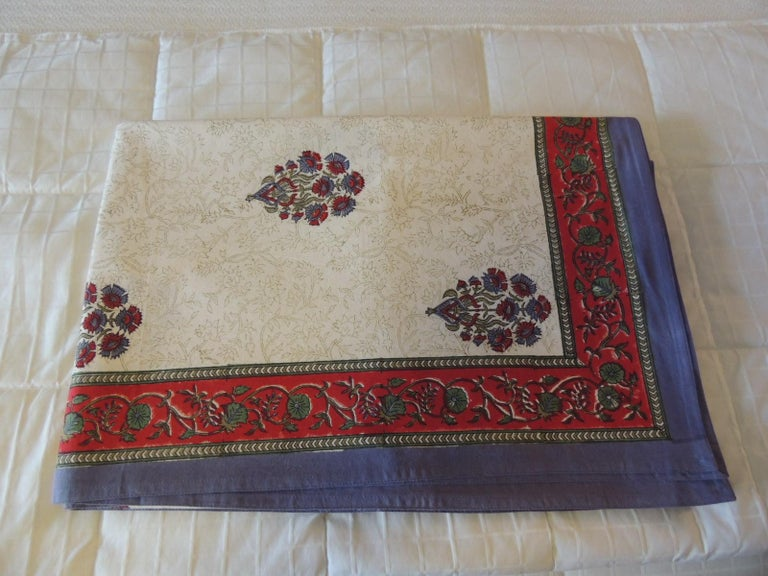 20th Century Blue and Red Hand-Blocked Indian Coverlet For Sale