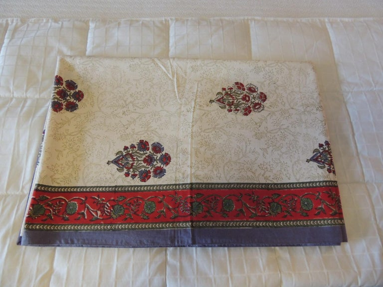 Cotton Blue and Red Hand-Blocked Indian Coverlet For Sale