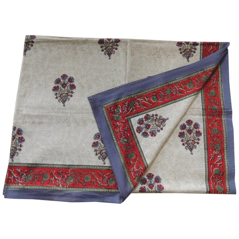 Blue and Red Hand-Blocked Indian Coverlet For Sale