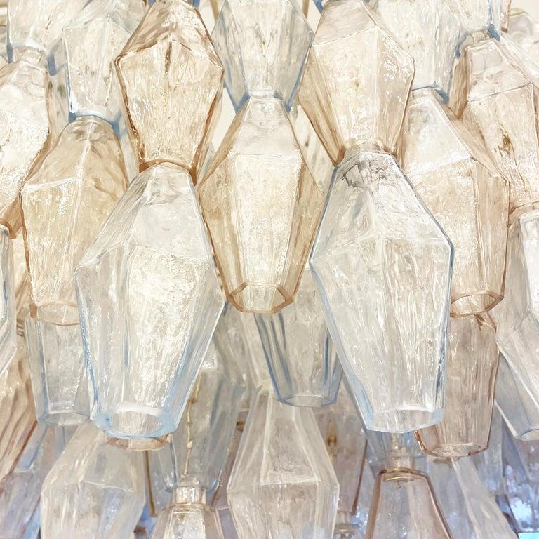 Italian Blue and Rose' Poliedri Murano Glass Chandelier by Venini