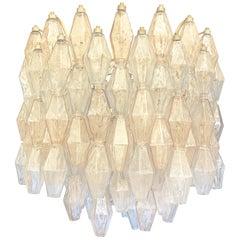 Blue and Rose' Poliedri Murano Glass Chandelier by Venini