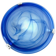 Blue and Satin Glass Flush Mount, 1980s, Italy