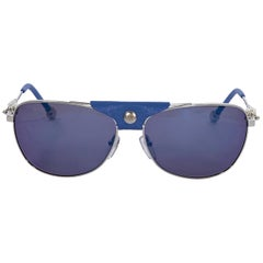Shamballa Blue And Silver Leather-Trimmed Aviator Sunglasses