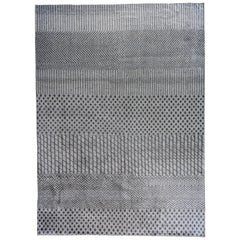 Blue and Silver Stripes and Checks Area Rug