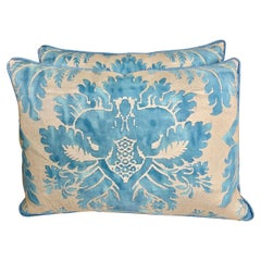 Blue and Silvery Gold Glicine Patterned Fortuny Pillows