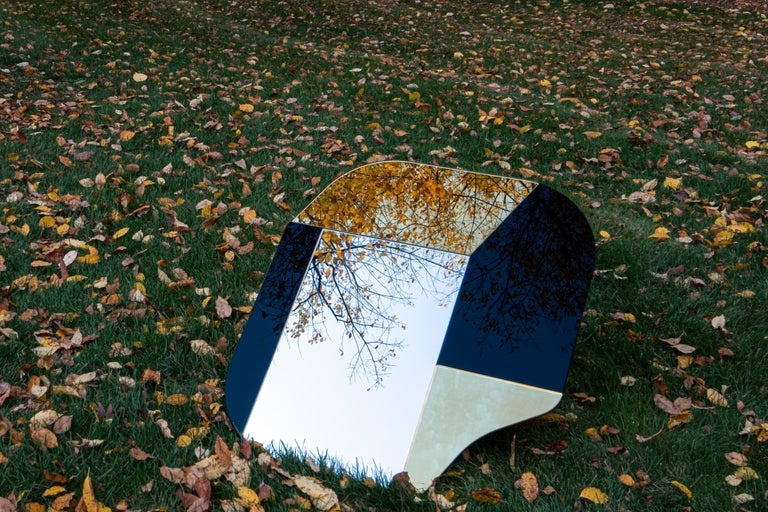 Blue and Speckled WG.C1.A Hand-Crafted Wall Mirror In New Condition For Sale In Brooklyn, NY