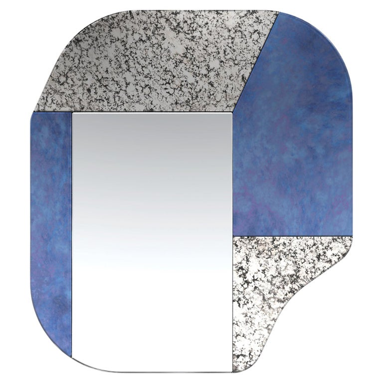 Blue and Speckled WG.C1.A Hand-Crafted Wall Mirror For Sale