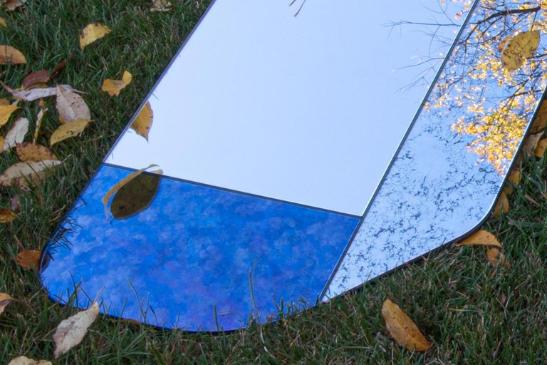 Blue and Speckled WG.C1.B Hand-Crafted Wall Mirror For Sale 1