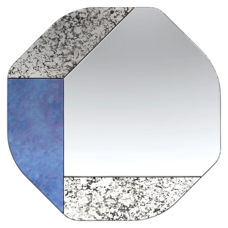 Blue and Speckled WG.C1.B Hand-Crafted Wall Mirror For Sale