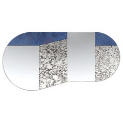 Blue and Speckled WG.C1.C Hand-Crafted Wall Mirror