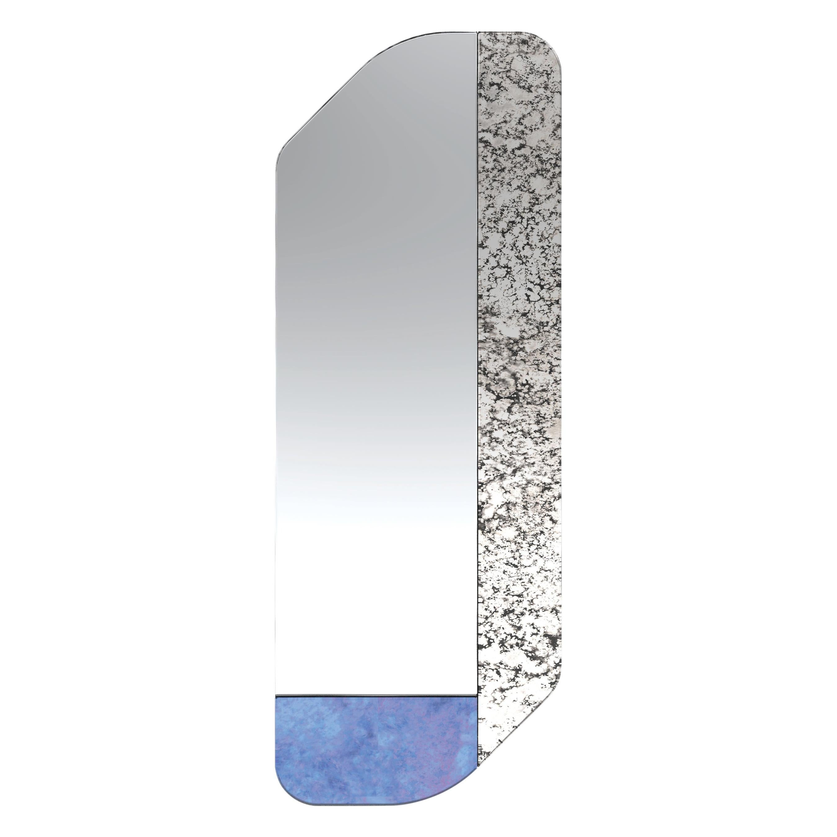 Blue and Speckled WG.C1.D Hand-Crafted Wall Mirror