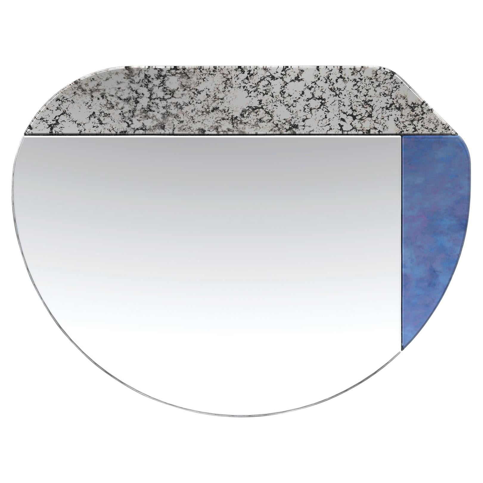 Blue and Speckled WG.C1.E Hand-Crafted Wall Mirror