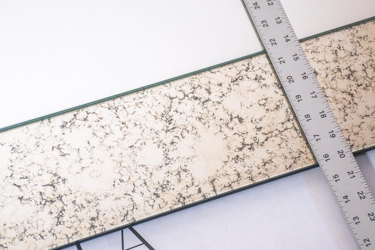Glass Blue and Speckled WG.C1.F Hand-Crafted Wall Mirror For Sale