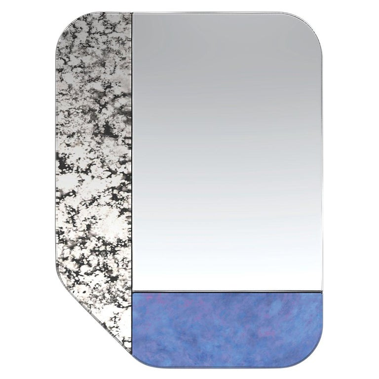 Blue and Speckled WG.C1.F Hand-Crafted Wall Mirror For Sale