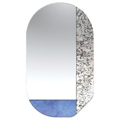 Blue and Speckled WG.C1.G Hand-Crafted Wall Mirror