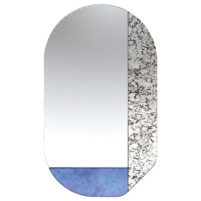 Blue and Speckled WG.C1.G Hand-Crafted Wall Mirror For Sale