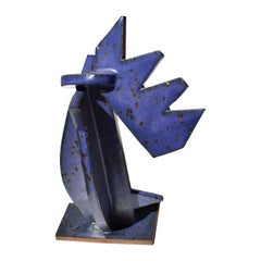 Blue and Violet Contemporary Abstract Geometric Ceramic Stoneware Sculpture 2019