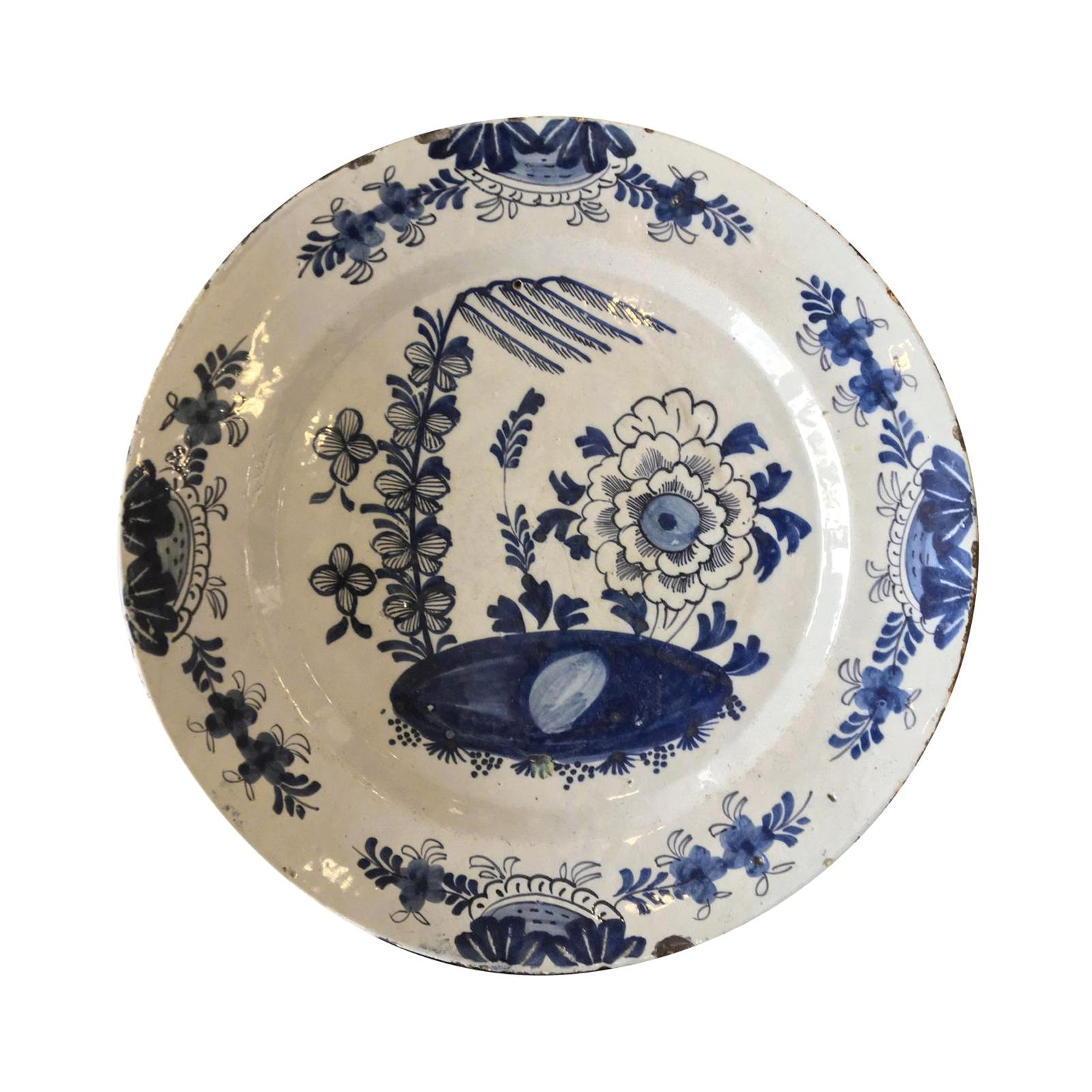 Blue and White 18th Century Delft Charger