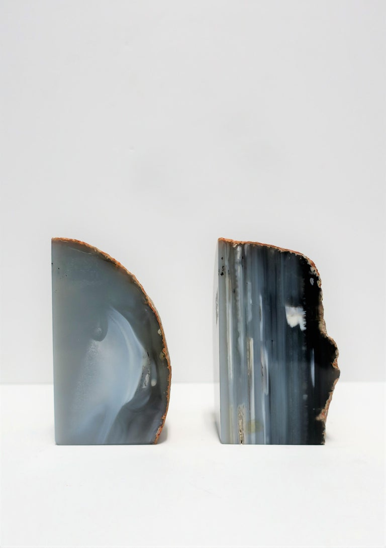 20th Century Blue and White Agate Onyx Marble Bookends, Pair For Sale