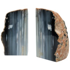 Blue and White Agate Onyx Marble Bookends, Pair