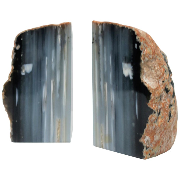 Blue and White Agate Onyx Marble Bookends, Pair For Sale