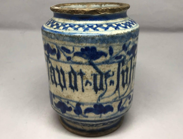 Italian Blue and White Albarello Vase For Sale