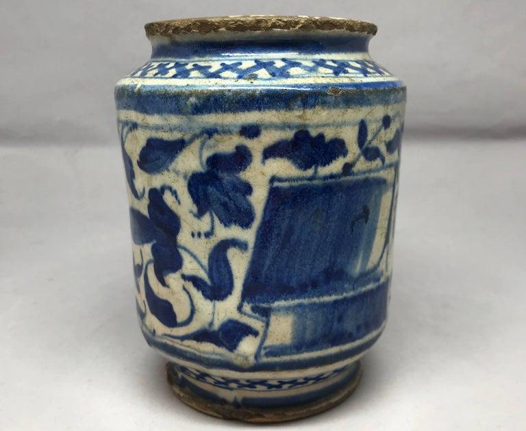 17th Century Blue and White Albarello Vase For Sale