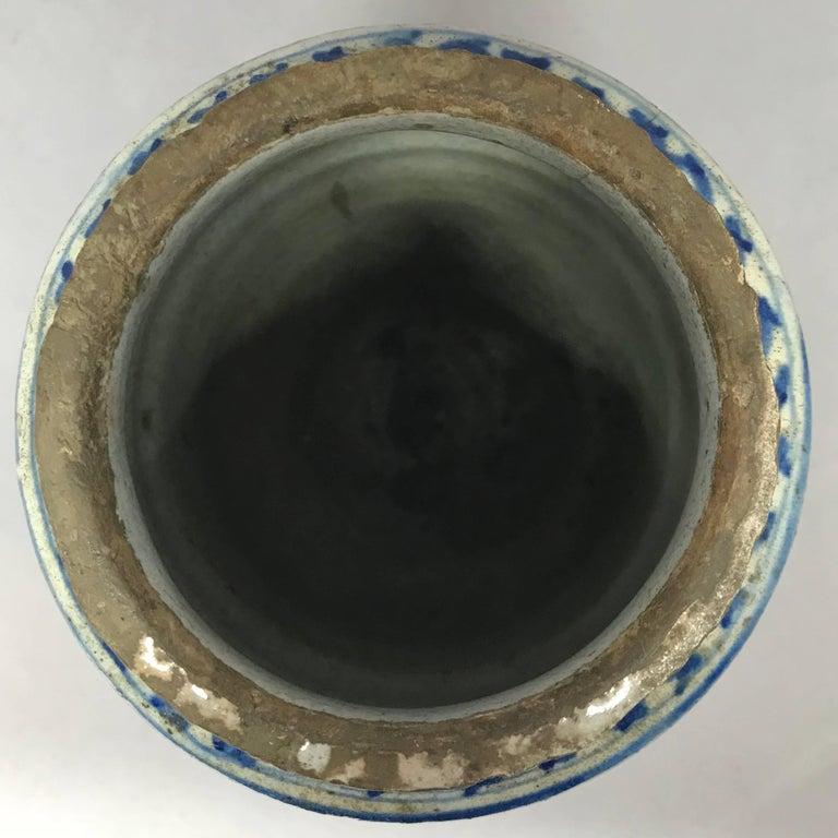 Pottery Blue and White Albarello Vase For Sale