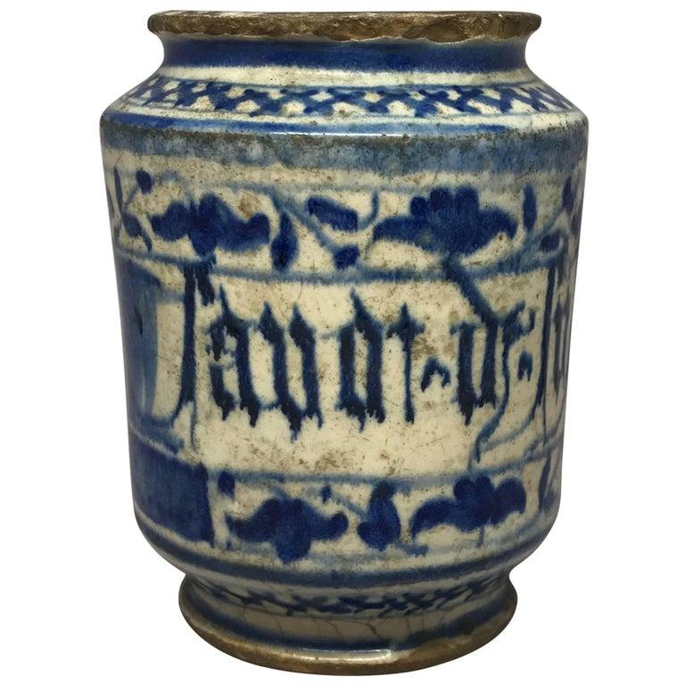 Blue and White Albarello Vase For Sale