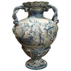 Blue and White Albisola Savona Vase, Mid-20th Century