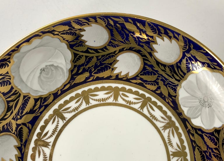 English Blue and White and Gold Dish Made in England by Spode, Circa 1820 For Sale