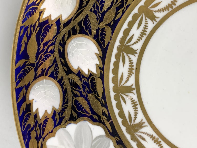19th Century Blue and White and Gold Dish Made in England by Spode, Circa 1820 For Sale