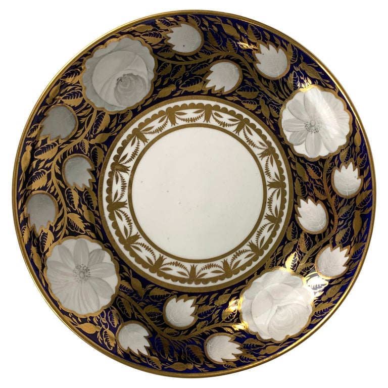 Blue and White and Gold Dish Made in England by Spode, Circa 1820 For Sale